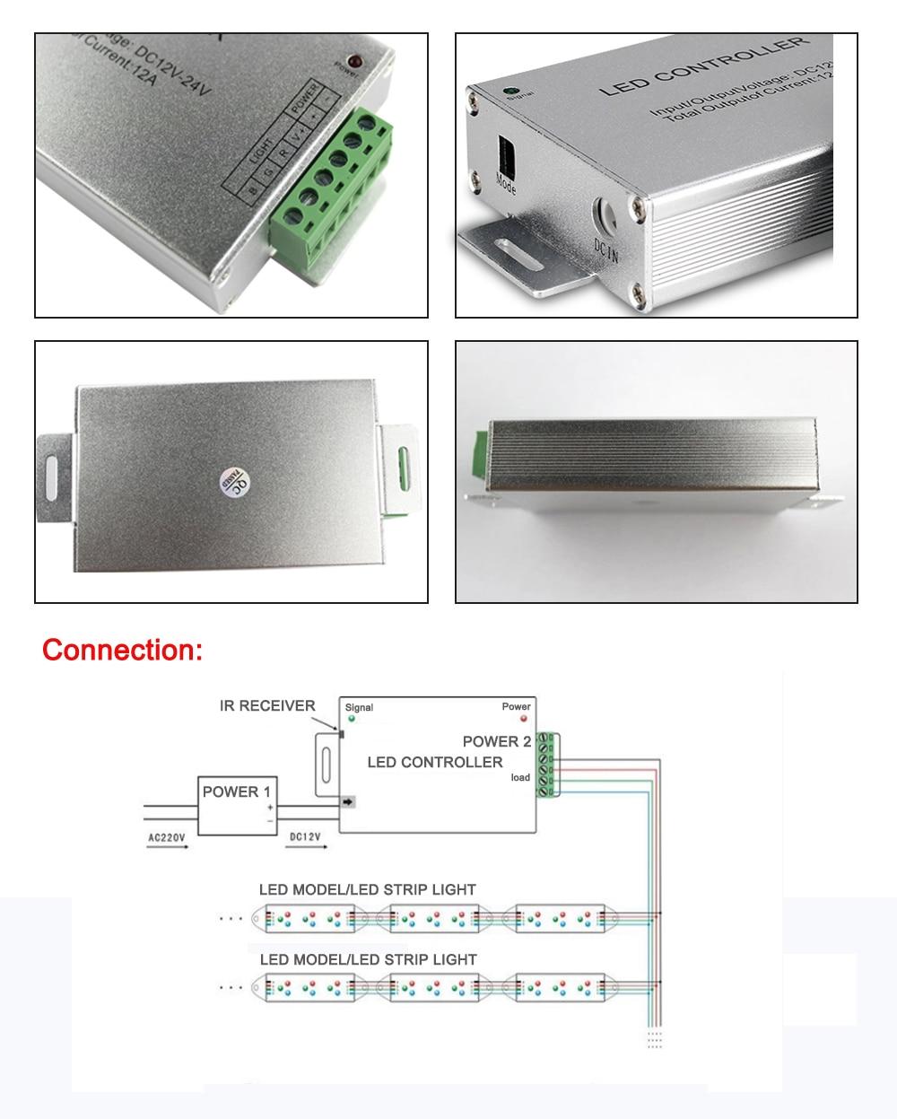 Led Controller 24/44 ստեղներ LED IR RGB Controler IR Remote - Լուսավորության պարագաներ - Լուսանկար 3