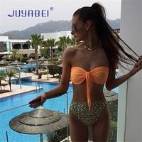 JUYABEI Women Sexy Hot Drill Bandeau Bikini Set Split Swimsuit Low Waist Biquini Swimwear Bathing Suit