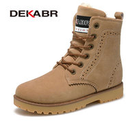 DEKABR New Fashion Handmade High Quality Winter Warm Boots Plus Fur Ankle Boots Comfortable Shoes Woman