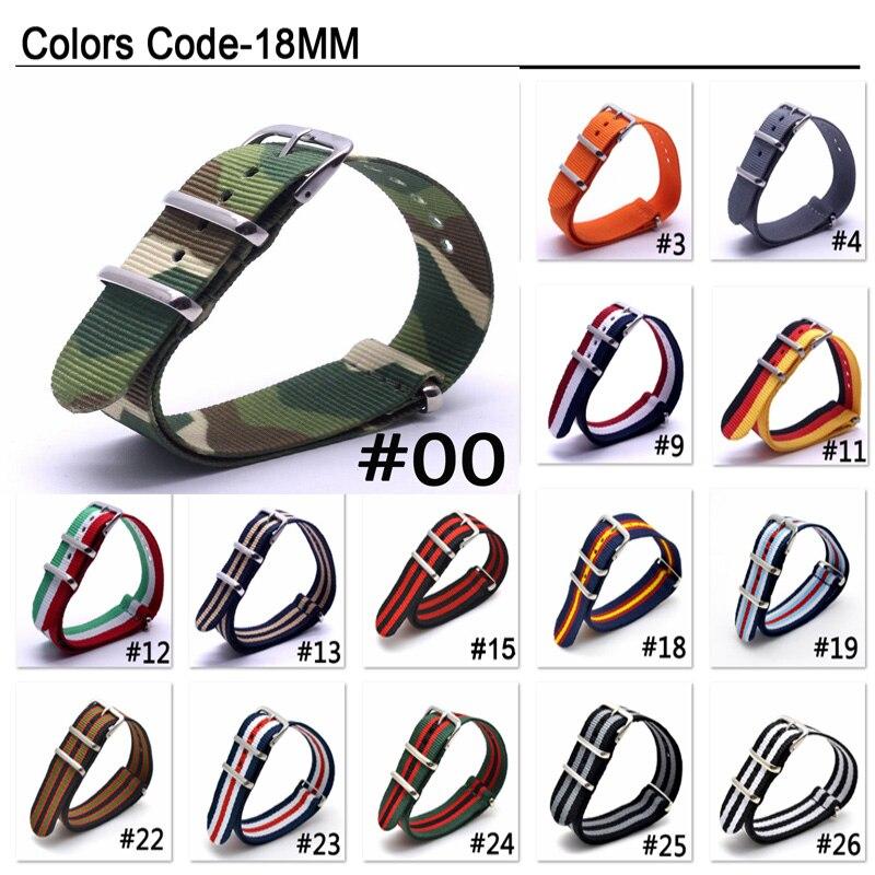 1 Pcs Heißer Verkauf 18 Mm Nato Strap Für Armee Sport Uhr Nylon Armband Armband Auf Für Stunden Multicolor Farben Auf Lager Online Rabatt