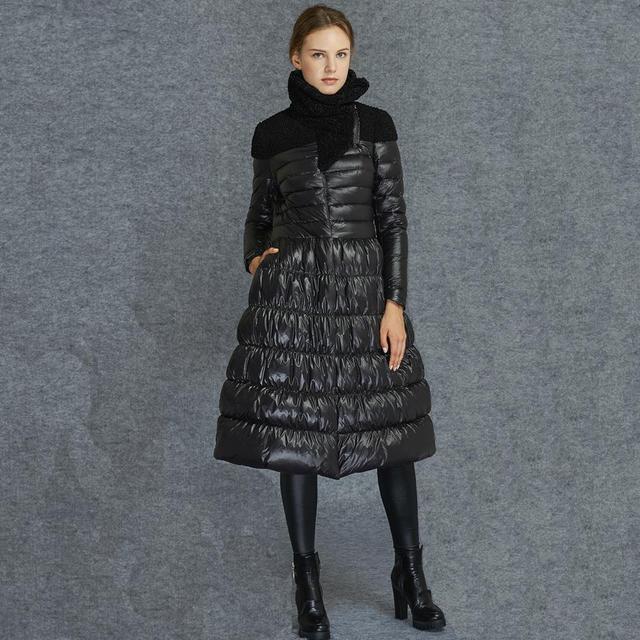 fe1ea6195 black women skirt jacket no collar duck down coat full skirt long puffer  jacket women elegant
