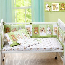 Cute Cartoon Cotton Baby Bumper Bed Crib Bumper for Baby Crib Protector of Baby Cribs for Newborns Bedding Bumpers 4 pcs /set(China)