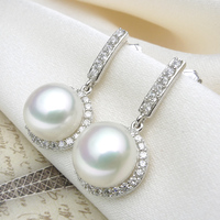 925 silver real natural big The only Olympic 925 sterling silver earrings earring natural pearl long Steamed Buns round silver