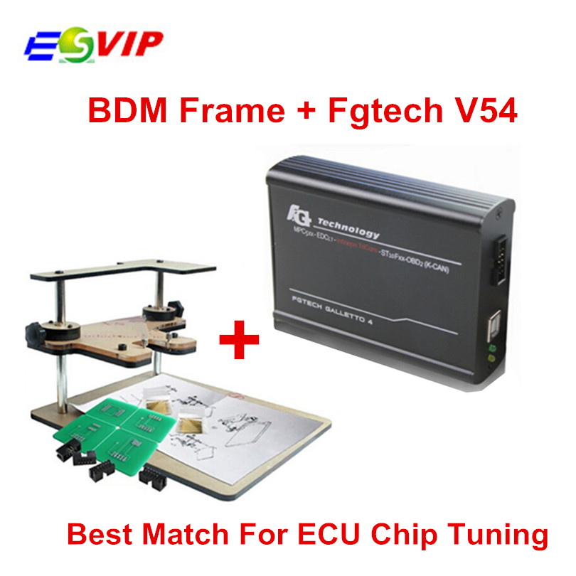 Good price Full Set BDM Frame Adapters + Fgtech Galletto 4 Master V54 OBD2 ECU Chip Tuning Tool Support BDM TriCore OBD Function