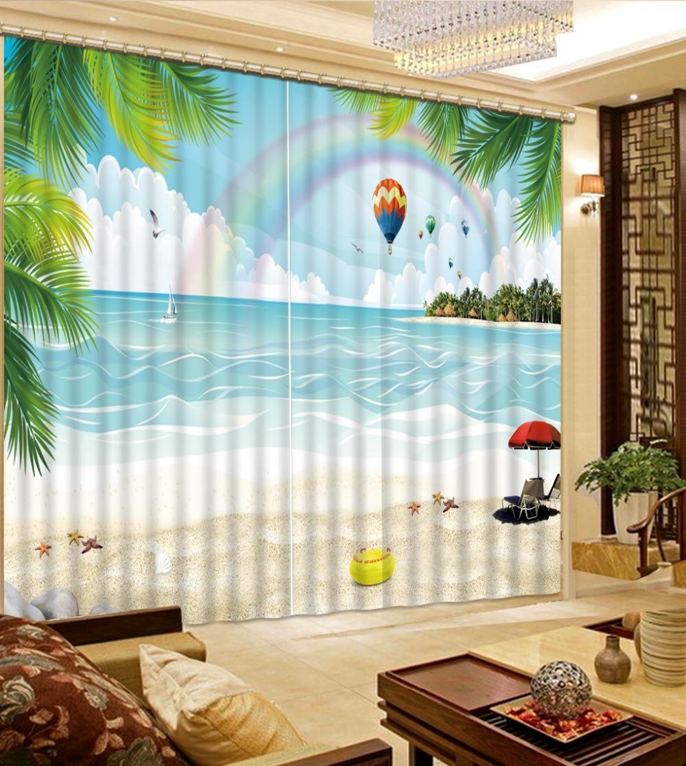 Wonderful Blackout Curtains 3D Stereoscopic Beach Landscape Rainbow Curtains Printing  Photo Window Curtain For Home Decor(