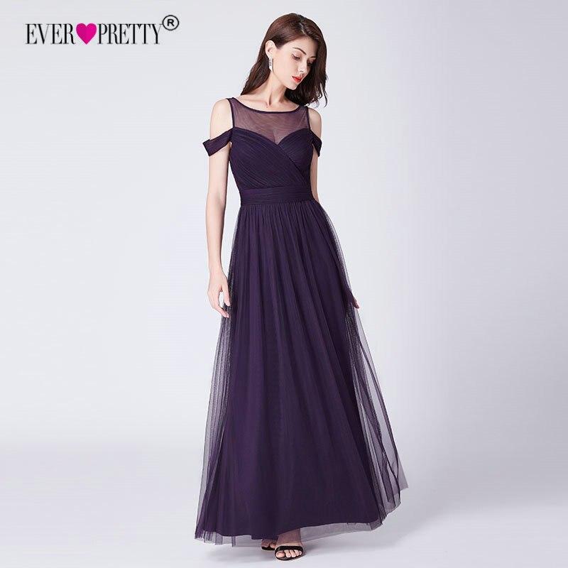 Фиолетовые длинные вечерние платья Ever Pretty A Line тюль с плеча o-образным вырезом Вечерние платья Вечернее платье женское элегантное Abendkleider