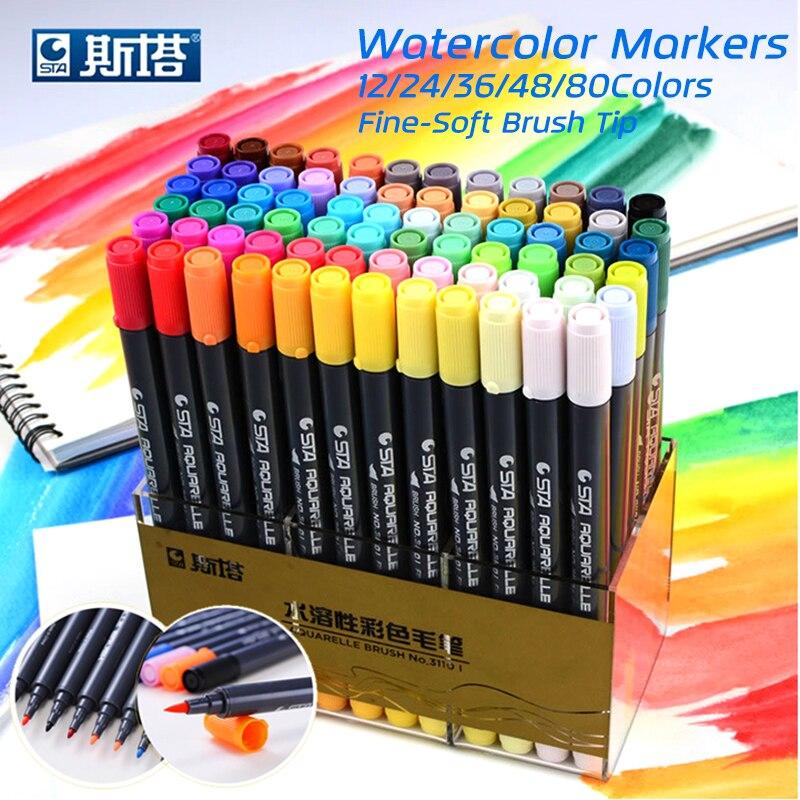 STA 80 Farben Set Tinte Auf Wasserbasis Sketch Marker Pens Twin spitze Feinen Pinsel Filzstift Für Grafik Zeichnung Manga Kunst liefert