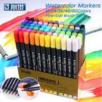 STA 80 colores juego tinta a base de agua marcador rotuladores doble punta fina pincel rotulador para dibujo gráfico Manga suministros de arte