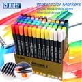 Набор чернильных маркеров STA на водной основе, 80 цветов, двусторонний фломастер для рисования манги, художественные принадлежности