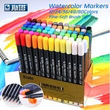 STA 80 Цвета комплект чернила на водной основе ручки, маркеры для рисования Twin Tip Тонкой кистью маркер для графический Рисунок Manga товары для рукоделия