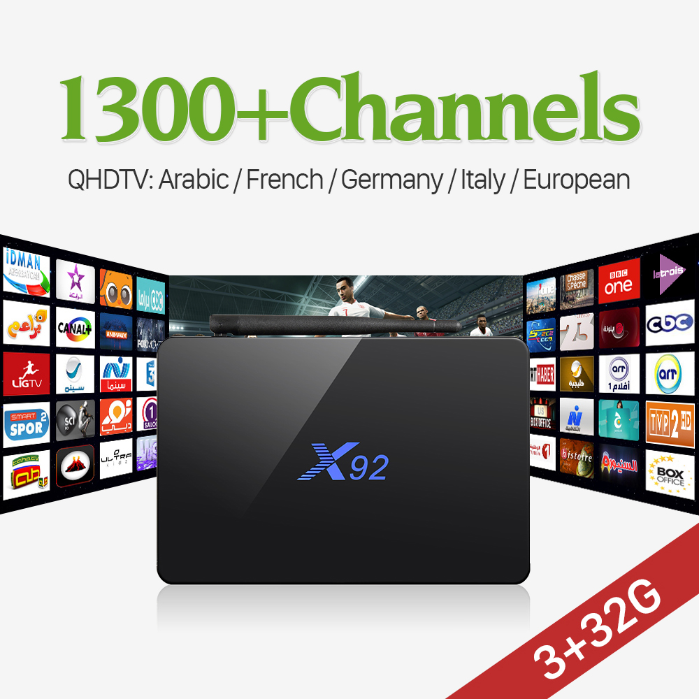 3G 32G Amlogic S912 Octa Core Android 6 0 TV Box WIFI 1300 IPTV Channels QHDTV
