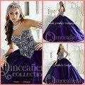 Impresionante con cuentas blusa del vestido de bola sweet 16 púrpura vestido de quinceañera nuevo diseñador barato 2016 vestido de quinceanera