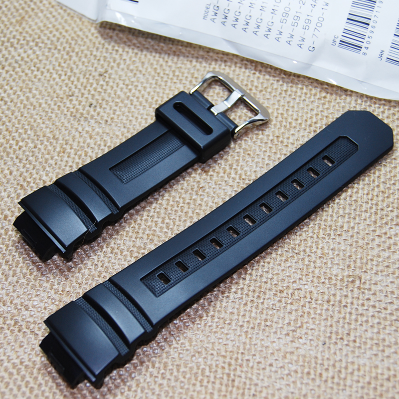 Prix pour Original noir Silicone Rubber band bracelet étanche pour AW-591 / AW-590 / AWG-100 / G-7700 / G-7710