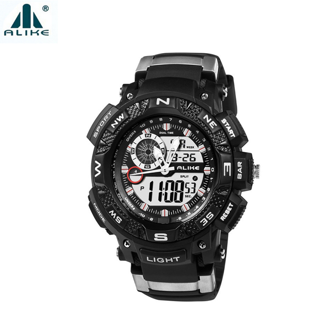 Alike Compass Watches Mens Sports 50m Waterproof Wristwatch Dual Display Electronic Quartz Watch with Date-of-Week Stop Watch
