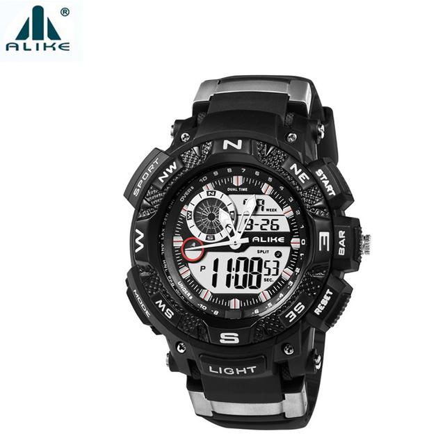 Bússola relógios mens esportes alike 50 m relógio de pulso à prova d' água dupla afixação de quartzo eletrônico relógio com data-de-semana stop watch