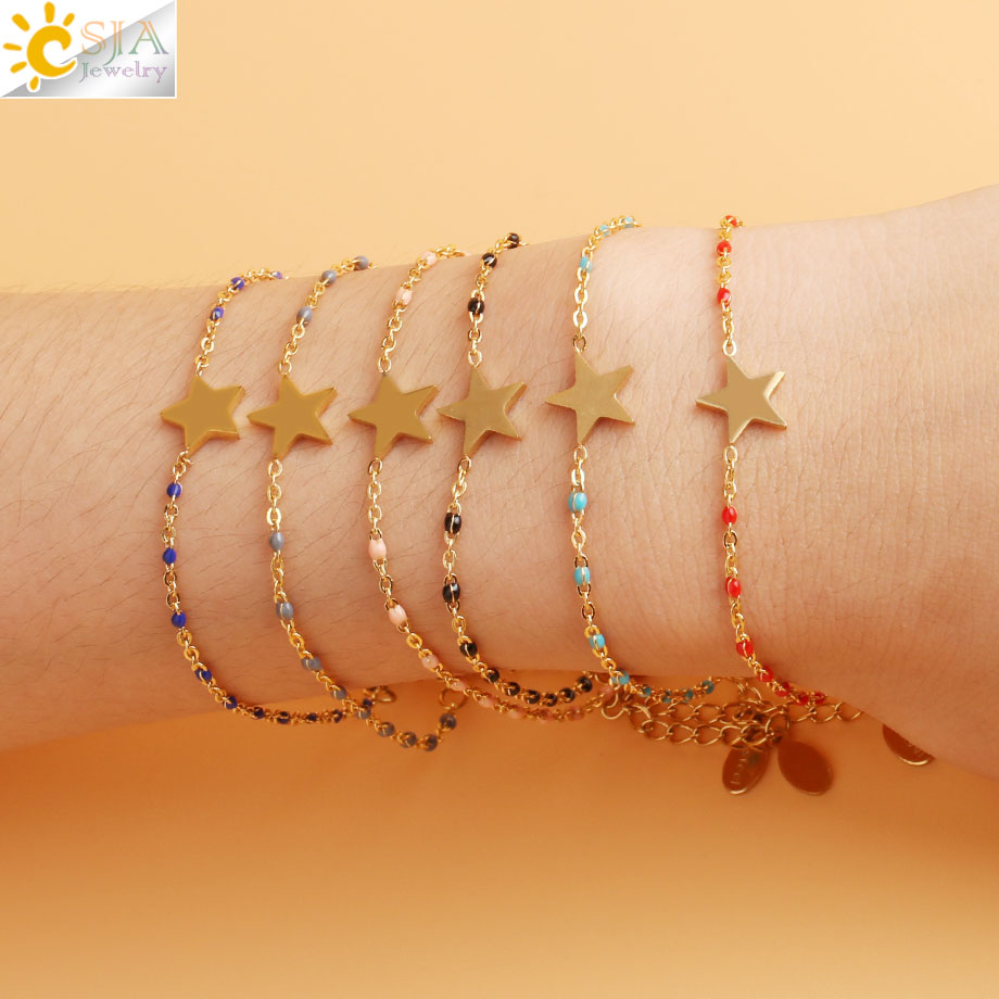 CSJA Gold-color Star Charms Stainless Steel Chain & Link Bracelets Bangles Femme Girl Bohemian Engagement Jewelry S417