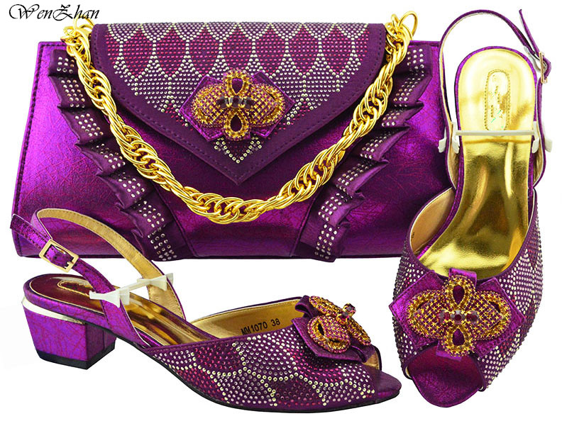 African Party Italian Shoes with Matching Bags Purple for Women Italian Ladies Shoe and Bag Set Decorated with Rhinestone B88-18 high quality purple italian shoe and matching bag set decorated with rhinestone african shoes and bag set for party in women