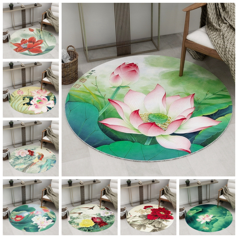 Classic Style Living Room Round Carpet 3D Lotus Pattern Floor Mats Parlor Bedroom Chair Rugs Home Decoration Non-Slip Area Rugs