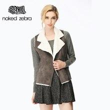 NAKED ZEBRA Autumn Woman Waistcoat Solid Color Sleeveless Thicken Zipper Vest Velvet Inside Punk Style Casual Lady Tank Coat