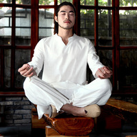 Spring Autumn Men Yoga Set Cotton Linen Loose Wide Leg Male Martial Arts Suit Tai Chi Uniform Meditation Suit Casual Set