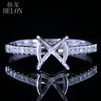 HELON New Fashion Jewelry Round 7 8mm Solid 14k White Gold Semi Mount Ring Setting Engagement