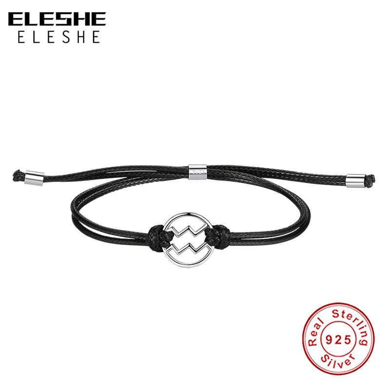 ELESHE אמיתי 925 כסף סטרלינג צמיד לנשים שחור עור מתכוונן צמיד קסם דלי כוכב סימן תכשיטים