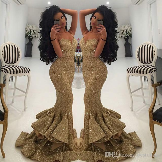 Bling Gold Sequins Mermaid Prom Dresses 2017 Spaghetti Open Back Ruffles Sweep  Train Evening Gowns Pageant Dress P116 82f5ff67f9a4
