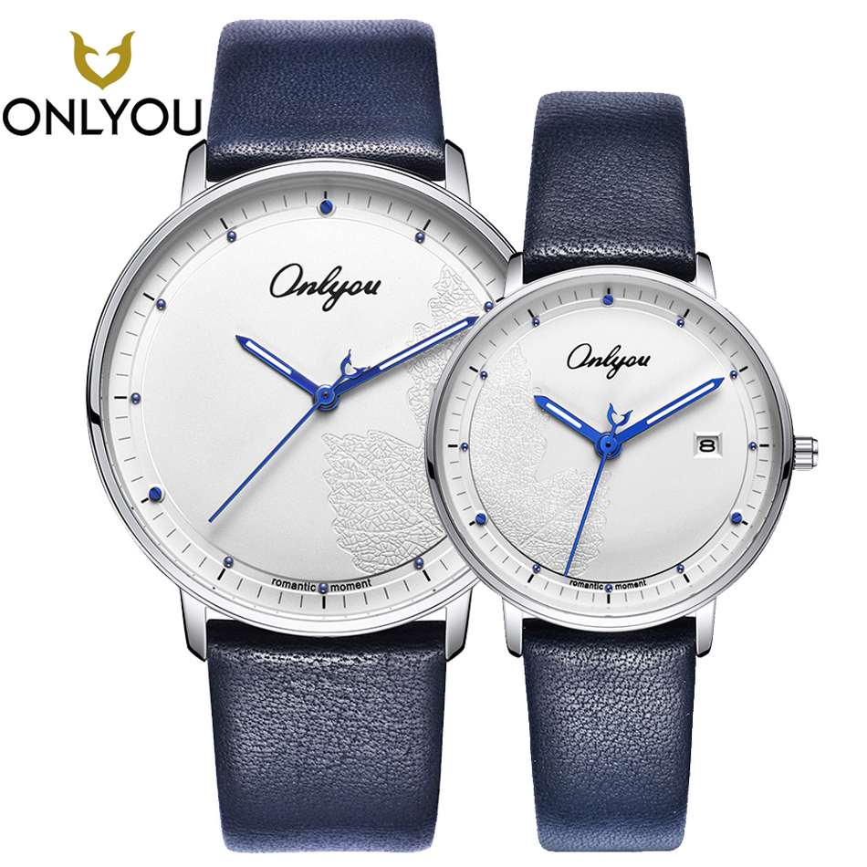 ONLYOU Lover Casual Watches Creative Quartz Wristwatch Couple Valentine's Day Gift Anniversary Leather Strap Men Clock Women onlyou lover watches couple fashion unique wristwatch chinese style valentine s day present gift women caual quartz clock