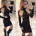 2016 New Brand Vestido Women Fashion Turtleneck Dress Black Gray Long Sleeve Evening Party Dresses Vestido de festa Brasil Trend