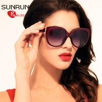 SUNRUN Polarized Sunglasses TR90 Women Cat Eyes Glasses High Quality Vintage Sunglasses UV400 Gafas De Sol