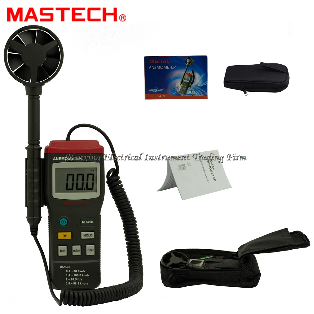 FAST SHIPMENT MASTECH MS6250 Digital Anemometer Wind Speed Tester Meter 0.4~30m/s With large LCD and back light Data Hold free shipping gm8901 45m s 88mph lcd digital hand held wind speed gauge meter measure anemometer thermometer