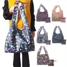Printed folding shopping bag tote bag portable multi-function groceries polyester cloth storage bag цена