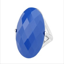 New HOT Cheap 2016 Vintage Jewelry Oval Blue Enamel Ring For Women Wedding Engagement Silver Plated Crystal Gift Free Shipping