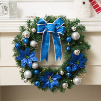 DIY Merry Christmas Wreath 40cm Garland Window Door Decorations Bowknot Ornament Natale Ingrosso Christmas With Warm