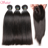 Satai Brazilian Straight Hair Human Hair Bundles With Closure Middle Part 3 Bundles With Closure Non