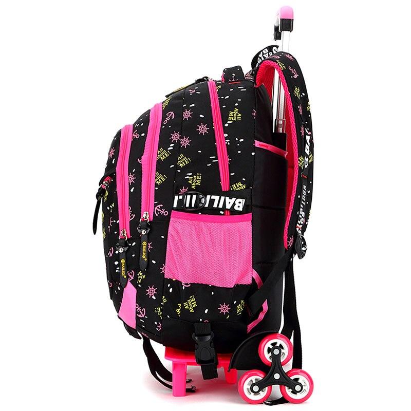 2/6 roues haute qualité filles chariot sac à dos cartable sacs orthopédiques pour enfants chariot cartable garçons sac à dos - 3