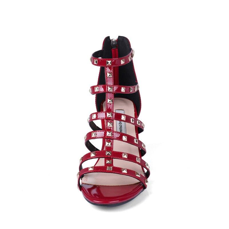 Haute Fedonas Taille Noir forme Sandales Femmes D'été Rome Marque Pompes Chaussures Élégant Plate Hauts Rivets Grande rouge Talons Femme Qualité Style 0x4gw0qr