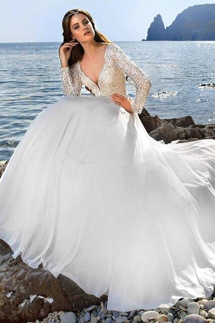 Elegante ilusión encaje Sexy Beach vestidos de novia de manga larga ...