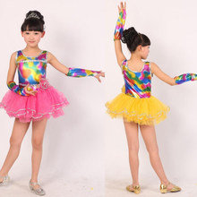 Pink Girls Ballet dancewear costume dress Kids Sequined Stage Party Dance  dress Yellow Dancing dress for Child b91df7d7be02