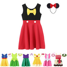 Baby Girl Mickey Dress Up Kids Ariel Cosplay Costumes Summer Toddler Princess Snow White Role Play Frocks Belle