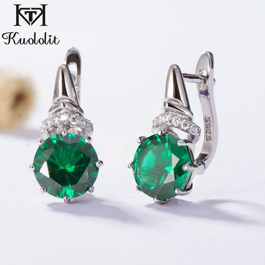 bastante agradable 29166 fbc34 Pendientes de Clip de piedras preciosas de Esmeralda Kuololit para mujer  sólido 925 Plata de Ley ...