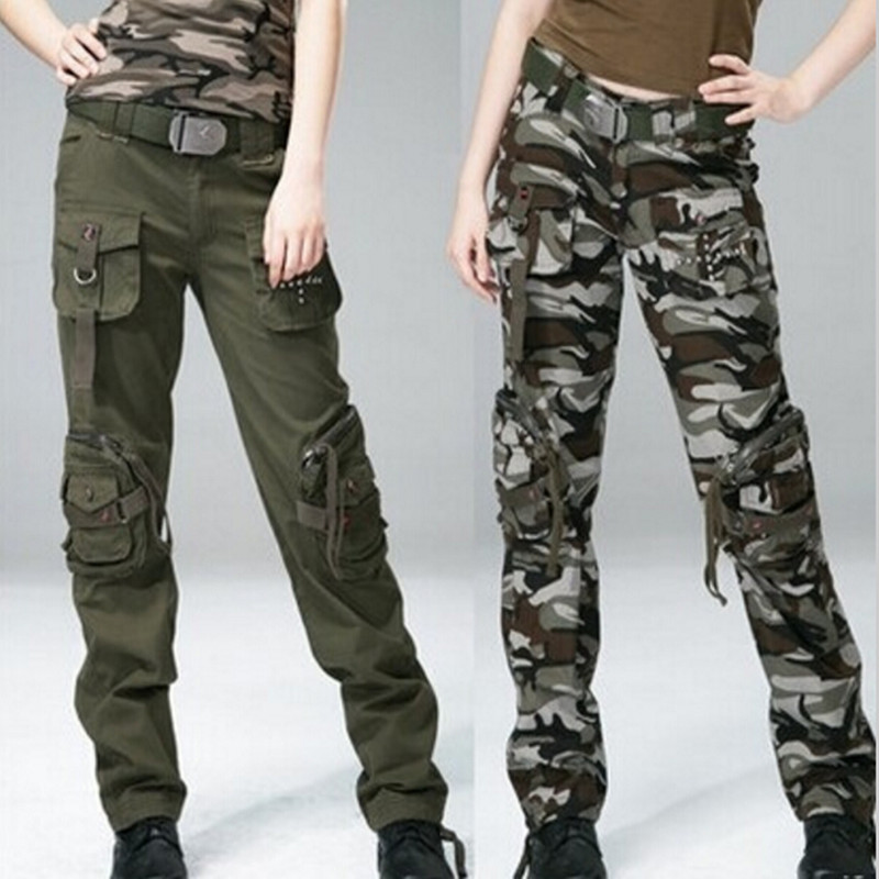 Spring Autumn Women Cotton Straight Tube Baggy Cargo Pants Multi Pocket Military Loose Overall Tactical Army Long Full Trousers