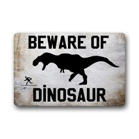 Beware Of Dinosaur Funny Door Mat Outdoor Indoor Rubber Mat Non woven Fabric Top funny doormat for entrance door outdoor