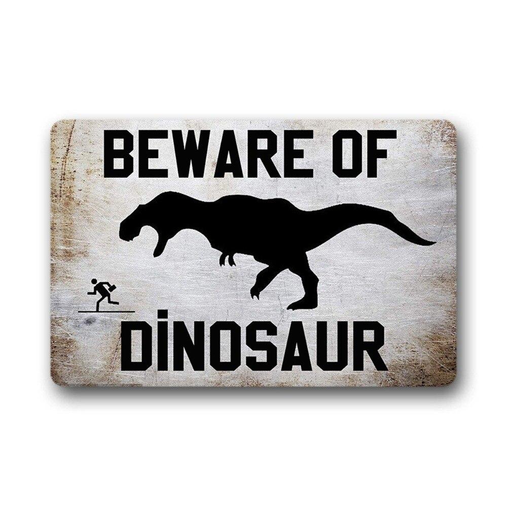 """""""méfiez-vous Du Dinosaure"""" Tapis De Porte Drôle En Plein Air Intérieur Tapis En Caoutchouc Non-tissé Haut Drôle Paillasson Pour Porte D'entrée En Plein Air"""