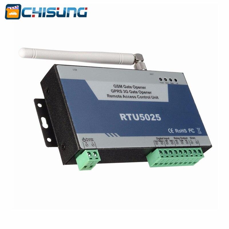 Abridor de puerta de interruptor GSM GPRS 3G abridor de puerta (RTU5025) Unidad de Control de acceso remoto 999 usuarios Puerta Abierta