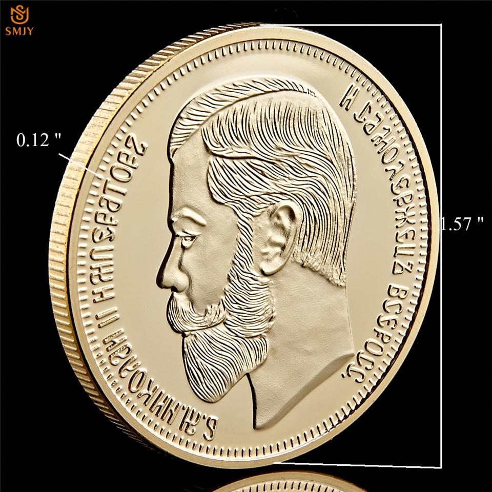 5PCS//Lot 1894-1917 Russian Tsar Emperor Nicholas II Gold Souvenir Coin Collect