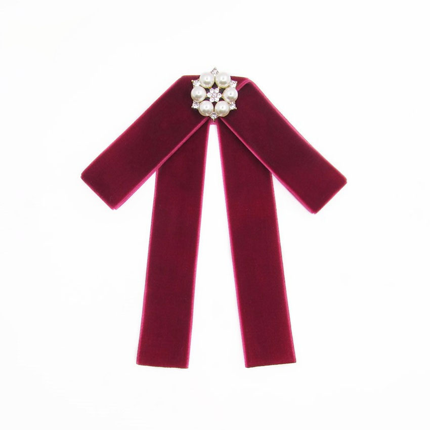 New Female Bow Ties Women wedding College style Butterfly velvet preal Decoration bowtie Dress Shirt collar accessories