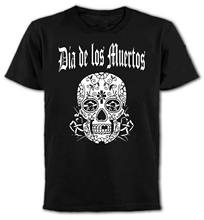 Hot Sale 2019 New Fashion Brand Crew Neck Day Of The Dead Mexican Skull T-Shirt - Gothic, Rocker, Punk, Emo,Unique T Shirts(China)