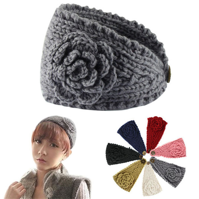 Cheap Headwear Fashion Fabulous Women Girls Crochet Headband Knit Hairband Flower Button Winter Warmer Head Wrap Girls Bandanas