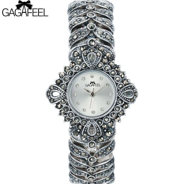 100% 925 Sterling Silver Watch Lady Women Thail Silver Wristwatch Quartz Bracele